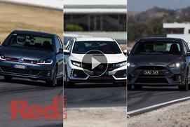 Ford Focus RS v Honda Civic Type R v Volkswagen Go...